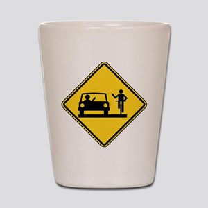 Car vs.Bicycle Road Rage Shot Glass